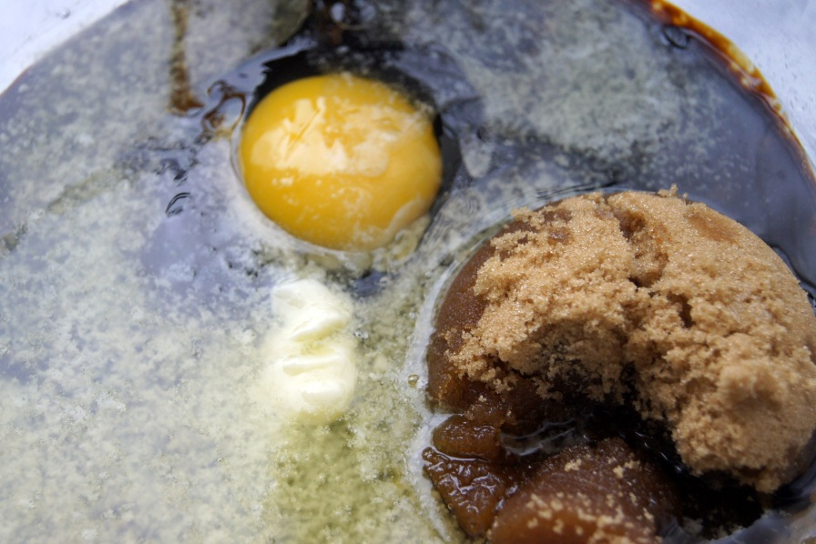 molasses, butter, brown sugar, butter, and the egg